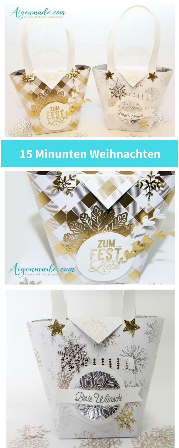 15 Minuten Weihnachten Geschenkstaschen Wellnesstaschen als Bastelidee und Geschenksidee für Weihnachtsmarkt und Adventsmarkt #bastelideen #geschenksidee #Weihnachtsmarkt #adventmarkt #wellnesstasche #diy #stempeln #stampinup