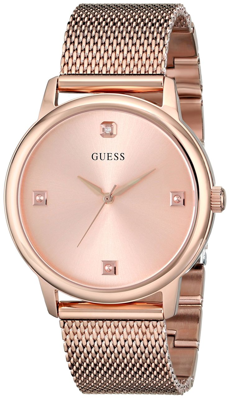 GUESS Men's U0280G2 Dressy Rose Gold-Tone Watch with Plain Rose Gold Dial and Mesh Deployment Buckle. Rose gold-tone stainless steel watch featuring diamond hour marker at twelve o'clock position on clean logoed dial. Quartz movement with analog display. Mineral crystal dial window. Features fold-over clasp closure on mesh bracelet. Water-resistant to 50 m (165 ft). Define your time with a stylish Men's GUESS Watch that's Perfect for Women too!.