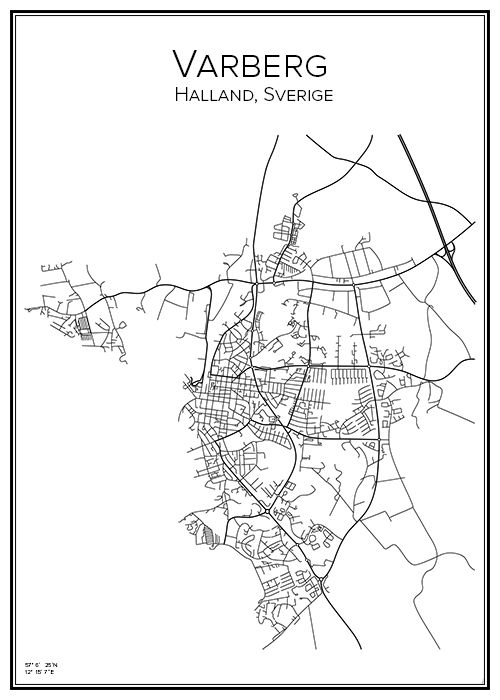 Varberg. Halland. Sverige. Karta. City print. Print. Affisch. Tavla. Tryck.