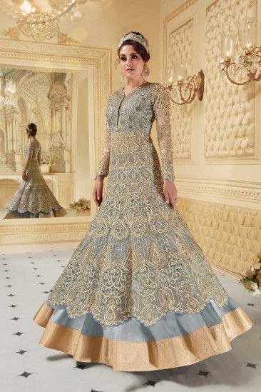 f6b9c76d7f3  Raya  Dresses 2018 - Golden With Blue Silk Embroidered Anarkali Gown -  LSTV0037