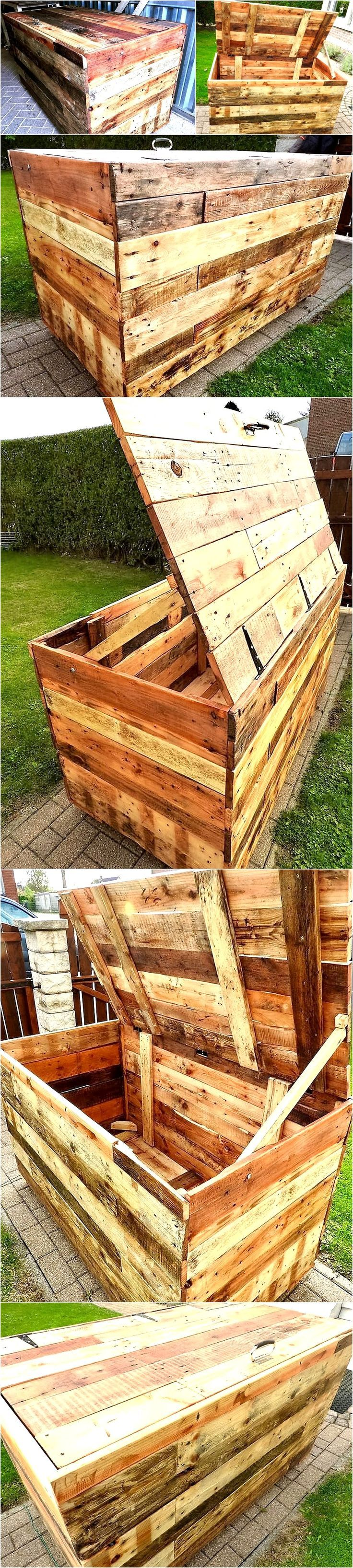 This has become so crucial to find some additional storage hacks where our lives have shrunk to mere tiny apartments and we are in dire need of these storage places. In this scenario this wooden pallet grand trunk or chest would be of great help.