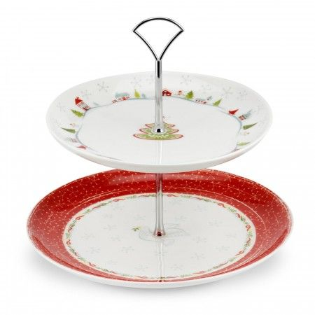 Portmeirion Christmas Wish 2 Tier Cake Stand - Christmas Wish - Portmeirion UK