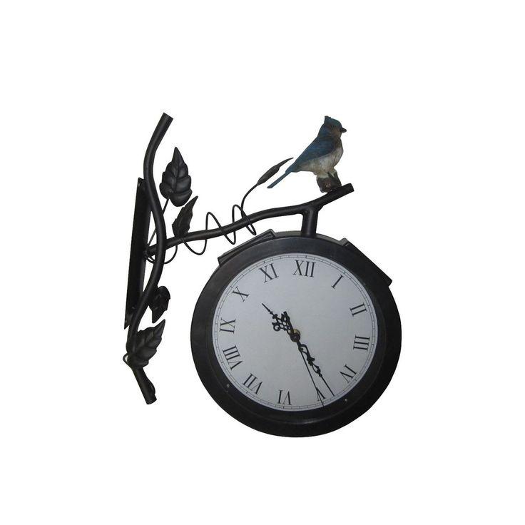 Wonderful Alpine Solar Clock Light, Black (Iron), Outdoor Décor