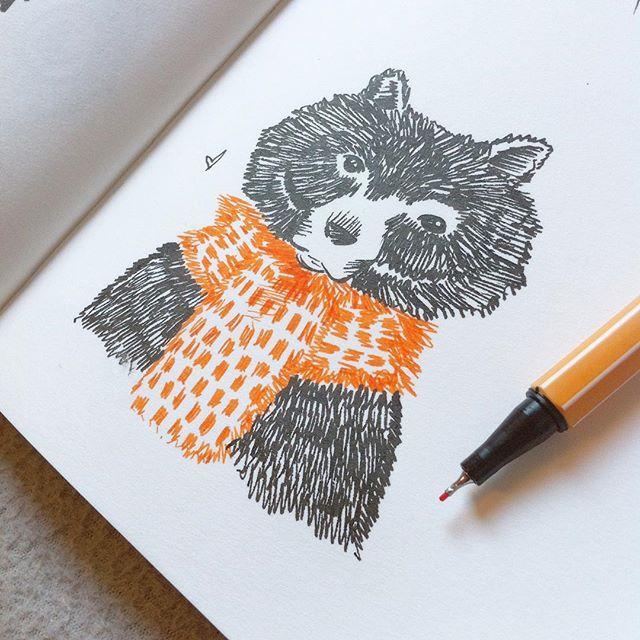 Petit croquis jolie jolie ~ ✏️ --- Small pretty nice sketch ~ #little #sketch #bear #scarf #creation #book #sketchbook #orange #vsco #vscocam #instagramers #instagood #carnet #dessin #illustration