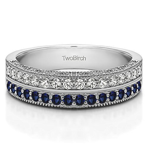 0.48 ct. Diamonds (G-H,I2-I3) and Sapphire Double Row Vintage Filigree Millgrained Wedding Band in 10k White Gold (1/2 ct. twt.) (Size 3 to 15 in 1/4 Size Intervals)