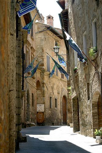 The medieval streets of Montepulciano open to piazzas and gorgeous cathedrals in Tuscany, Italy