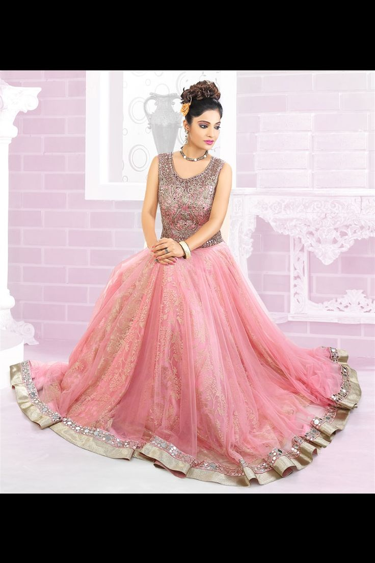 Pink color wedding wear gown