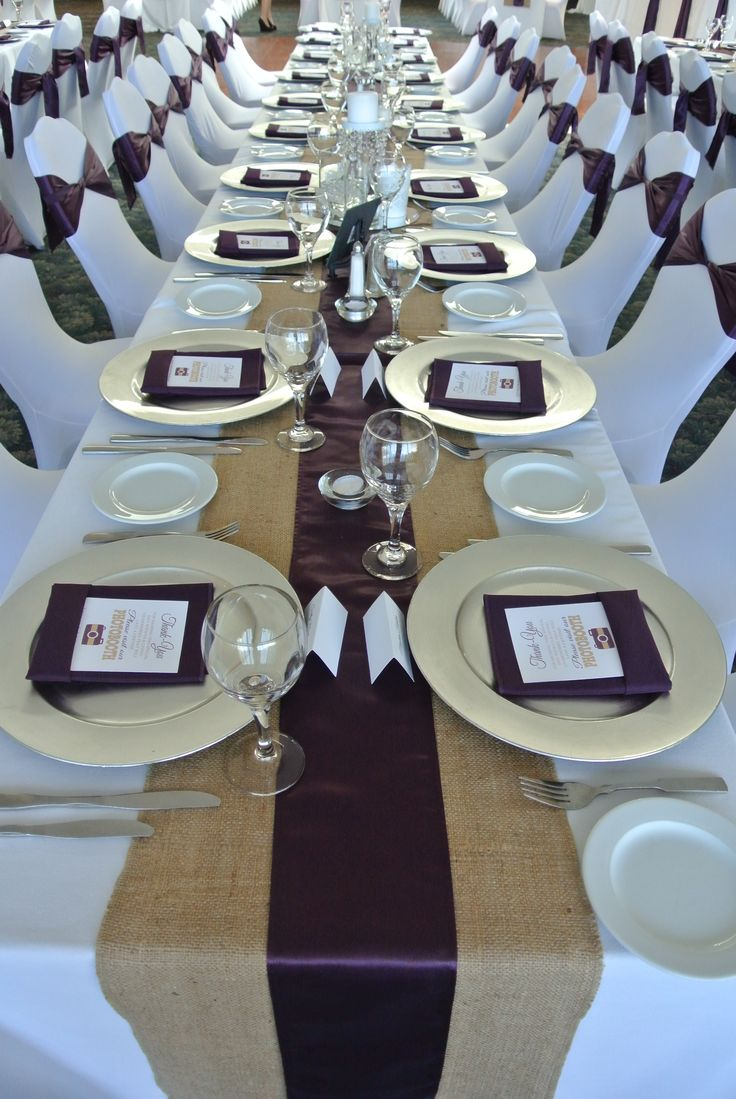 Eggplant Satin & Burlap Runners Silver Charger Plates & Eggplant Napkins Stretch Chair Covers & Eggplant Satin Sashes. Hollyburn Country Club