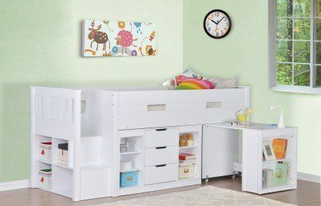 This Charlie Mid Sleeper Bed Frame is sure to be a great space saver for your child's bedroom. A pull-out desk provides a great place for your child to do their homework in peace; it is also a great space saver, as it has built-in shelving and can be placed back under the bed frame to make more space whenever it is required. With 3 more generously spacious shelving areas built into the bed frame as well as a chest of drawers, this bed frame is a fantastic storage solution, sure to put an ...