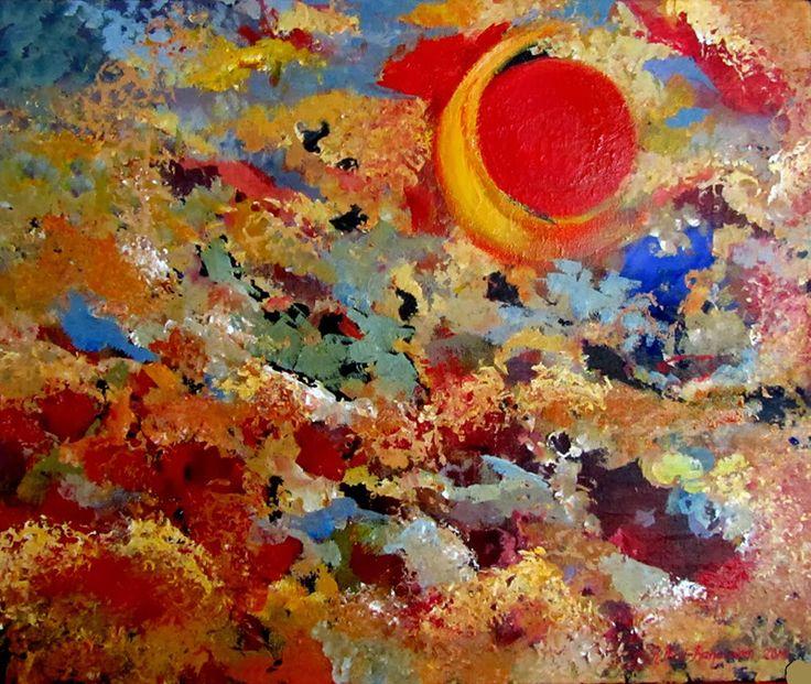 """""""Kuun syliin""""  akryylimaalaus"""