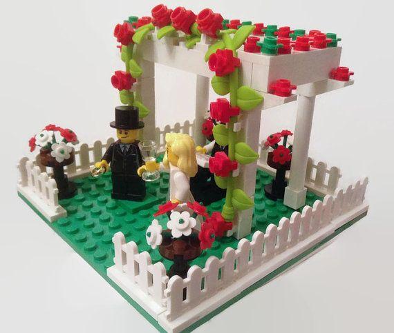 Lego Cake Topper Garden Wedding Arbor Genuine Lego Parts Customised Choose Minifigures and Colours