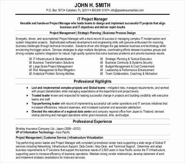 It Project Manager Resume Elegant 32 Manager Resume Templates Pdf Doc Project Manager Resume Manager Resume Project Management