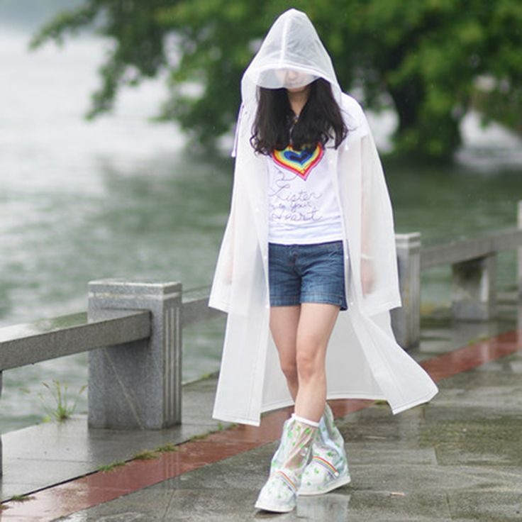 Fashion EVA Raincoats For Women Men Semitransparent M/L/XL Hiking/Travel/Outdoor Work Rain Coats New Woman Rainwear White Green
