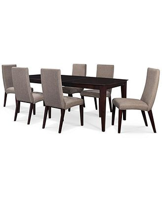 Lincoln Square 7 Piece Dining Set Table 6 Hemp Side Chairs Macys