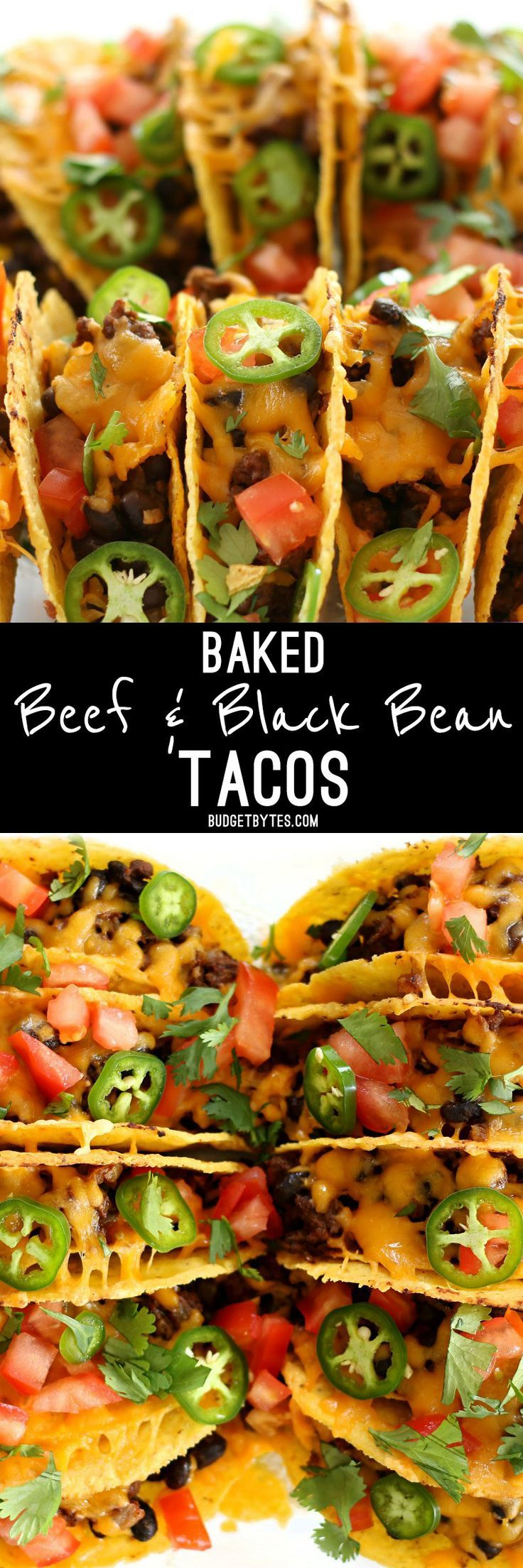 Baked Beef and Black Bean Tacos are a fast and easy way to take Taco Tuesday to the next level and is the perfect last minute weeknight meal. @budgetbytes