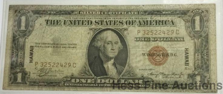 $1 One Dollar Hawaii Early WWII Era American Overprint Note Series 1935A