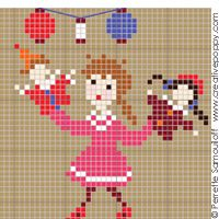 Bonheurs d'enfance, La fête d'anniversaire GM grille point de croix création Perrette Samouiloff – esli ayesli