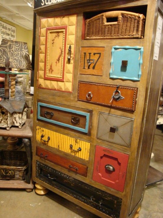 Eclectic chest of drawers! http://dishfunctionaldesigns.blogspot.co.uk/2012/02/upcycled-dressers-painted-wallpapered.html#