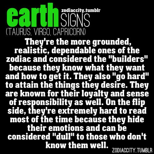 Zodiac City Earth signs Taurus Virgo and Capricorn