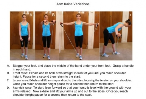 Resistance band arm raise variations to work shoulders