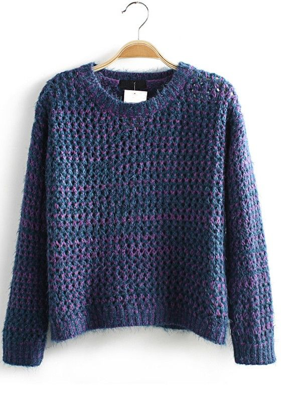 Blue Plain Hollow-out Short Loose Wool Pullover
