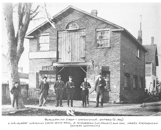 The Blacksmith shop in Unionville in 1906. Markham, Ontario.