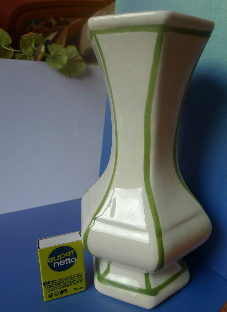 Vintage Old Pottery Home Decor White & Green VASE marked J Decore ? Derose