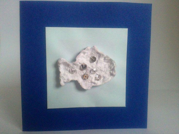 Rybička otevírací přání 10x10 cm použito - papír, ozdoba z ručně dělaného papíru, flitry