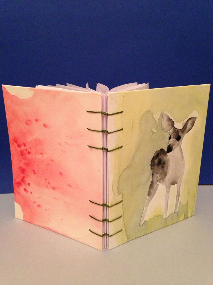 hand stitched notebook with watercolor cover by Bur_Cak