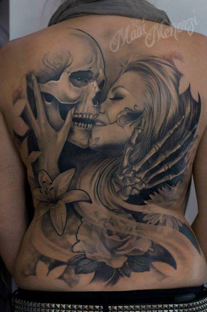 Tattoo-Foto: Totenkopf Frau