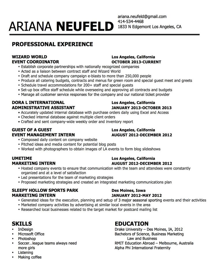 marketing; events; comic con; wizard world; guest of a guest - sports marketing resume