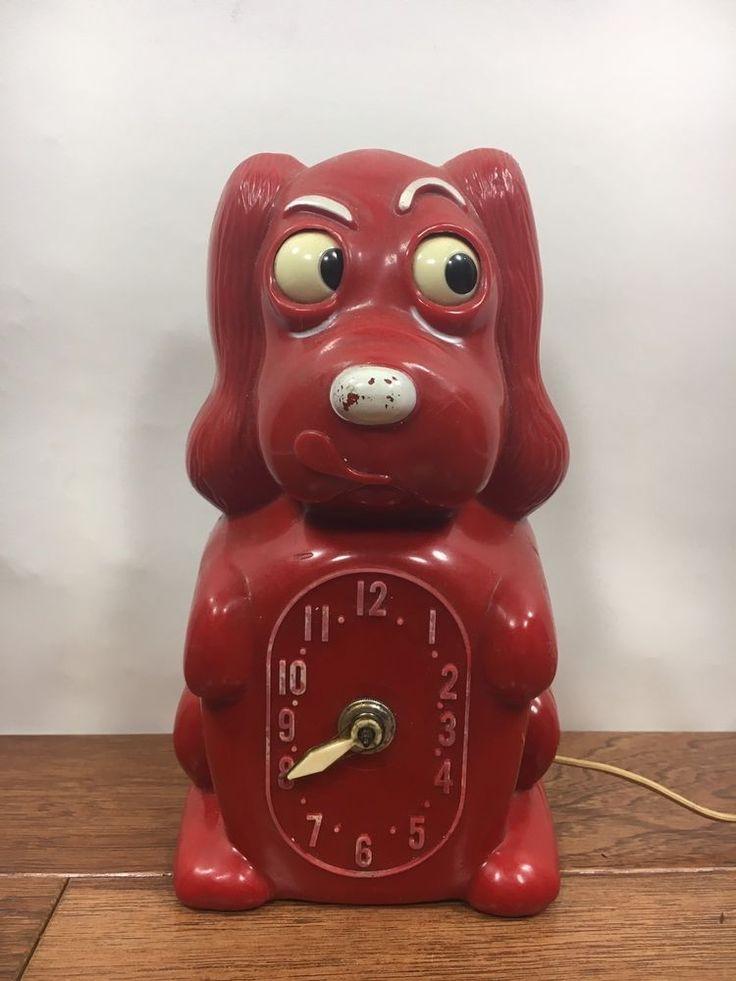 Vtg Red KLOCKER SPANIEL Electric Clock WORKS! Galter Products Plastic Dog    eBay