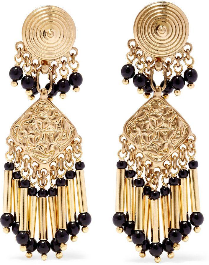 Boucles d'oreilles en plaqué or ornées de perles                                                                                                                                                                                 Plus