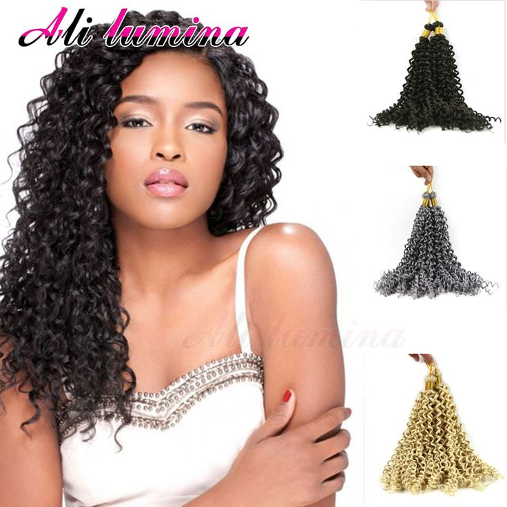 "Cheap Freetress Deep Twist Crochet Braids Curly Latch Hook 28"" Synthetic Hair Weave Water Wave Crotchet Braids Hair Extensions"