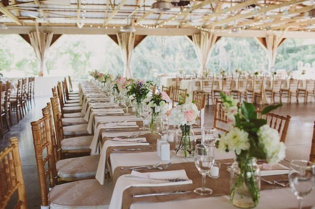 Mint green and pink rustic orchard wedding part 2 for Wedding reception table linen ideas
