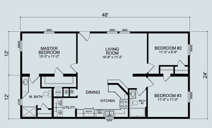 24 X 36 Floor Plans Nominal Size 24 X 52 Actual Size