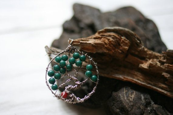 The Tree of Life Pendant I offer you this handmade pendant made of silver and jade.  You will receive this pendant in a handmade box. Would you like