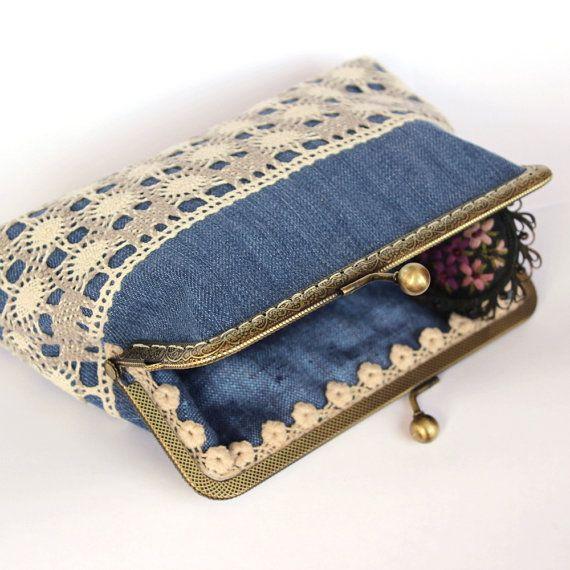 Boho cosmetic bag Lace&Denim kiss lock clutch by InterestingBags