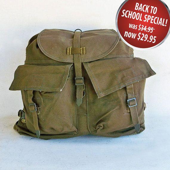 Vintage Army Surplus Backpack Rucksack Heavy by leapinglemming