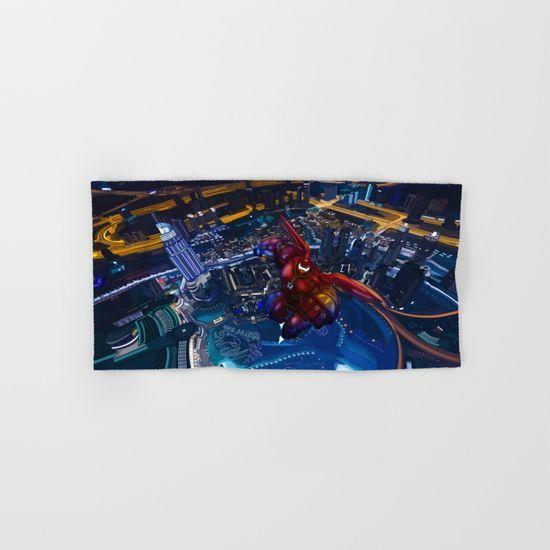 Big Giant red Robot HAND & BATH TOWEL #hand #bath #towel #painting #digital #watercolor #ink #3d #comic #illustration #bighero6 #bigherosix #bighero #baymaxarmor #baymaxsuit #baymax #ironman #baymax #arcreactor #neonlight