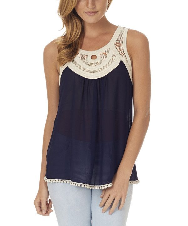 Look at this Pinkblush Navy Blue Crochet Silk-Blend Tank on #zulily today!