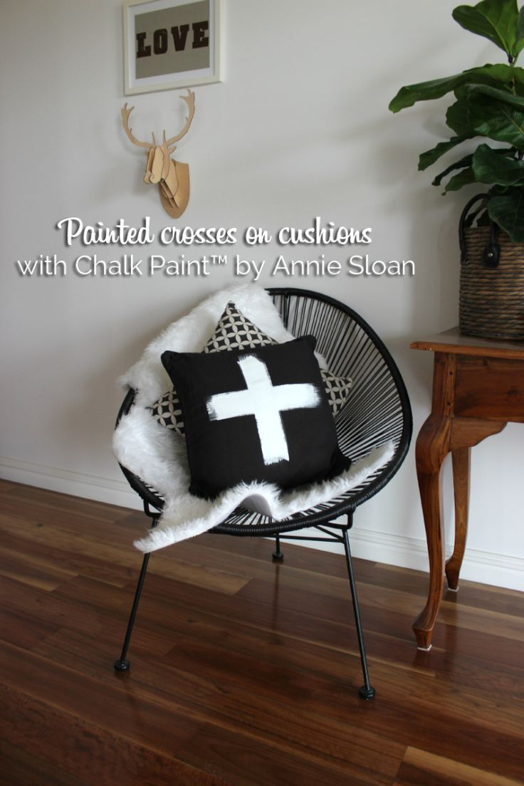 Painted cross on a cushion with Chalk Paint™ by Annie Sloan