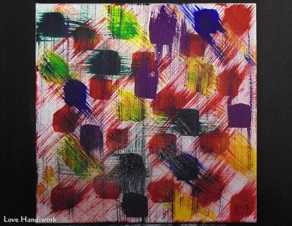Multi-Coloured Abstract Square Painting 12x12 by LoveHandyWork