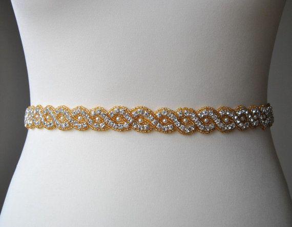 1000 images about rhinestone sash bridal belt sash for Gold belt for wedding dress