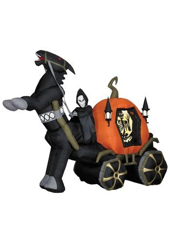 buy halloween decorations 6 tall airblown halloween inflatable reaper carriage with horse at halloween christmas shop - Blow Up Halloween Decorations
