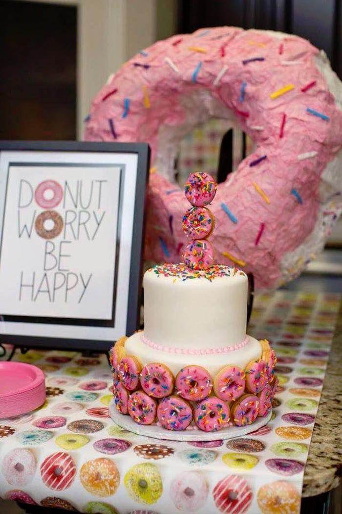 Cake + Donut Piñata from a Donut Themed Birthday Party via Kara's Party Ideas! KarasPartyIdeas.com (37)