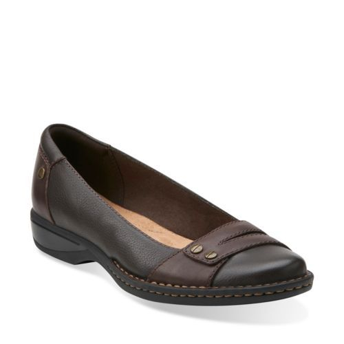 Pegg Abbie Brown Leather - Clarks Womens Shoes - Womens Heels and Flats - Clarks - Clarks® Shoes