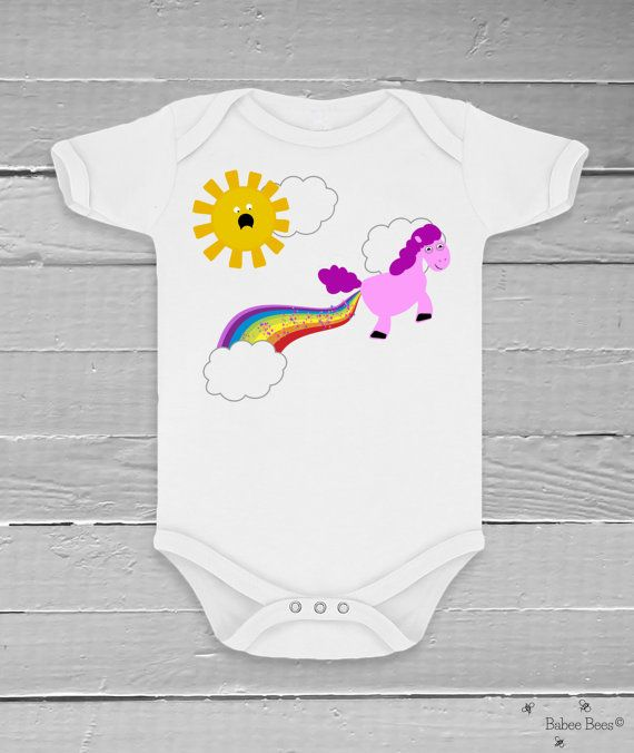 Unicorn Pooping Rainbows, Funny Baby Clothes, Unique Baby Gift, Baby Boy Clothes, Baby Girl Clothes, Unicorn Baby Shower, Funny Baby Gift