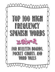 Spanish Word Wall - 100 High Frequency Spanish Words that are most used in the Spanish language. Zebra theme.
