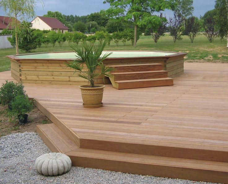 Piscine bois hors sol gardipool octoo et terrasse bois ...